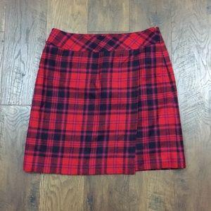 Talbots red plaid wrap wool skirt